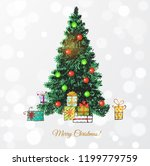 hand drawn christmas tree and... | Shutterstock .eps vector #1199779759