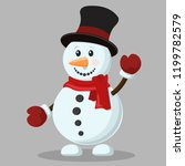 cheerful snowman in a hat and... | Shutterstock .eps vector #1199782579