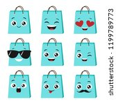 vector set of cute and happy... | Shutterstock .eps vector #1199789773