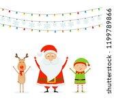happy santa claus with reindeer ... | Shutterstock . vector #1199789866