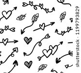 hand drawn hearts and arrows... | Shutterstock .eps vector #1199793829