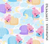 endless pattern with cute pink... | Shutterstock .eps vector #1199799763