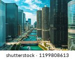 chicago river with boats and... | Shutterstock . vector #1199808613