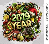 2019 hand drawn doodles... | Shutterstock .eps vector #1199809840