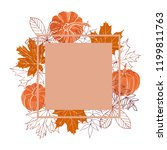 hand drawn autumn leaves and...   Shutterstock .eps vector #1199811763