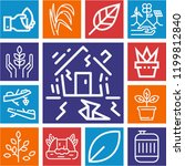 set of 13 nature outline icons... | Shutterstock .eps vector #1199812840