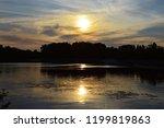 Sunset Autumn Sun Over The River