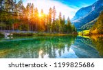 autumn sunset of hintersee lake.... | Shutterstock . vector #1199825686