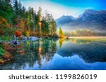 autumn sunny day on hintersee... | Shutterstock . vector #1199826019