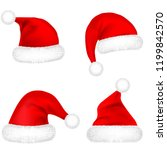 christmas santa claus hats with ... | Shutterstock .eps vector #1199842570