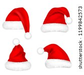 christmas santa claus hats with ... | Shutterstock .eps vector #1199842573
