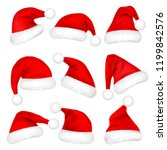 christmas santa claus hats with ... | Shutterstock .eps vector #1199842576