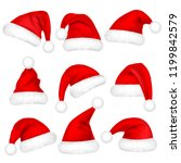 christmas santa claus hats with ... | Shutterstock .eps vector #1199842579