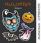 halloween sticker set. dracula  ...   Shutterstock .eps vector #1199844250