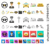 taxi service cartoon icons in... | Shutterstock .eps vector #1199844976