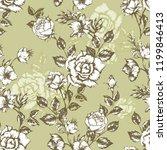 vintage flowers roses. seamless ...   Shutterstock .eps vector #1199846413