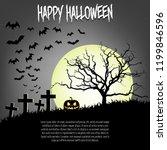 happy halloween. pumpkins  cat  ... | Shutterstock .eps vector #1199846596