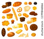 set vector bread icons.bakery... | Shutterstock .eps vector #1199846866