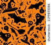orange halloween pattern with... | Shutterstock .eps vector #1199855086