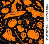 orange halloween pattern with... | Shutterstock .eps vector #1199855089