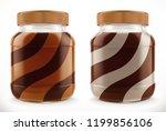 chocolate swirl in glass jar.... | Shutterstock .eps vector #1199856106