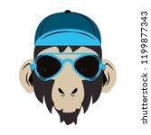 hipster monkey cool sketch | Shutterstock .eps vector #1199877343