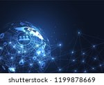global network connection.... | Shutterstock .eps vector #1199878669
