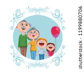 grandparents and grandchildrens | Shutterstock .eps vector #1199880706