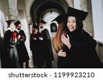 two girls hug. happiness. asian ... | Shutterstock . vector #1199923210