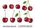 set of realistic ripe cherry... | Shutterstock .eps vector #1199923633