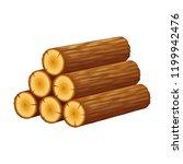 pile of logs  stack of trunks ...   Shutterstock .eps vector #1199942476