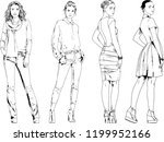 vector drawings on the theme of ... | Shutterstock .eps vector #1199952166