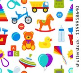 seamless pattern with baby toys.... | Shutterstock .eps vector #1199958640