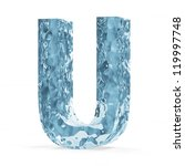 Water Alphabet isolated on white background (Letter U) - stock photo