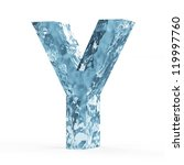 Water Alphabet isolated on white background (Letter Y) - stock photo