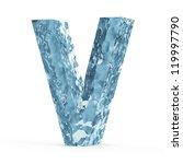 Water Alphabet isolated on white background (Letter V) - stock photo