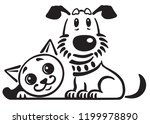 cartoon puppy dog and cat .... | Shutterstock .eps vector #1199978890