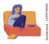 young unhappy  depressed woman  ... | Shutterstock .eps vector #1199978950