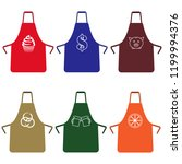 set of colorful kitchen aprons... | Shutterstock .eps vector #1199994376