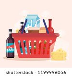 shopping basket with products | Shutterstock .eps vector #1199996056