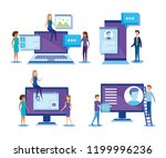 mini people with electronic... | Shutterstock .eps vector #1199996236