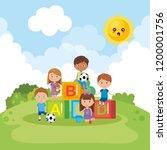 cute little kids on park | Shutterstock .eps vector #1200001756