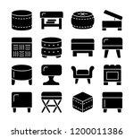 ottomans   poufs. accent stools ... | Shutterstock .eps vector #1200011386