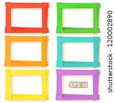 wooden picture frames color set ... | Shutterstock .eps vector #120002890