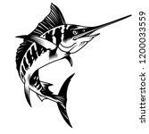 vintage monochrome marlin fish... | Shutterstock .eps vector #1200033559