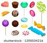 sweet candy icon set. isometric ... | Shutterstock . vector #1200034216