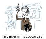 senior men commuting by train | Shutterstock .eps vector #1200036253