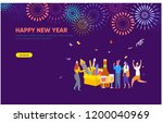 people celebrating new year and ... | Shutterstock .eps vector #1200040969