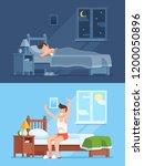 man sleeping under warm duvet... | Shutterstock . vector #1200050896