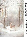 watercolor winter landscape ...   Shutterstock . vector #1200052879